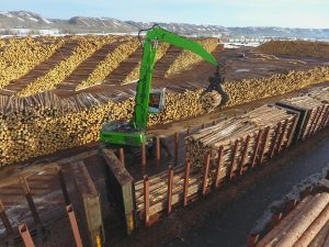 From his vantage point, 16' CTL logs are easily moved from the stack to the railcars going to Dunkley.
